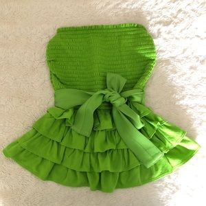 NWOT Gilly Hicks Ruffle Tube Top in Green - Small
